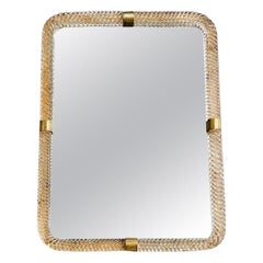 20th Century Italian Murano Glass, Brass Wall Mirror by Barovier & Toso