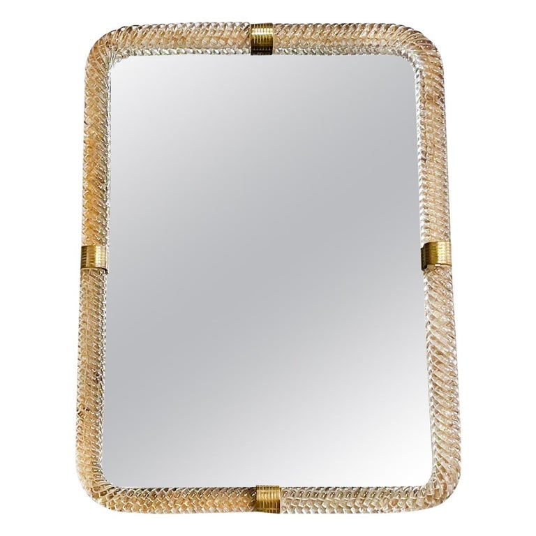 20th Century Italian Murano Glass, Brass Wall Mirror by Barovier & Toso For Sale