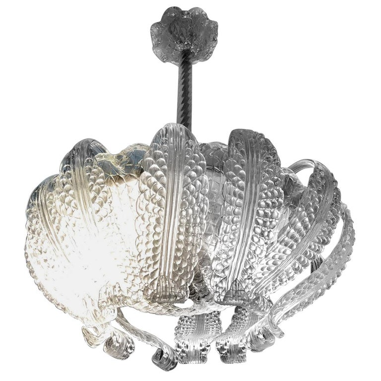 20th Century Italian Murano Glass Chandelier with 12 Leaves and Three Lights For Sale