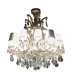 20th Century Italian Murano Glass Chandelier with 12 Lights from 1940s