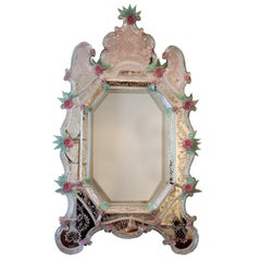 20th Century Italian Murano Glass Mirror by Ercole Barovier, 1940s
