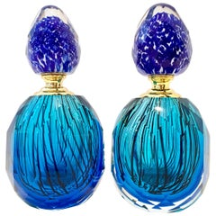 20th Century Italian Murano Glass Style Pair of Perfume Decanters