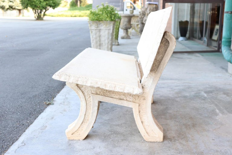 Beautiful garden bench. This beautiful garden furniture is used comes from a large Art Nouveau villa in northern Italy. Made of cement, circa 1930, about outdoor furniture, dimensions of great effect, refined realization. Beautiful Italian garden
