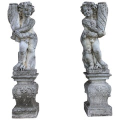 20th Century Italian Neoclassical Garden Lighting Statues Set Garden Ornament