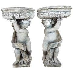 20th Century Italian Neoclassical Garden Pots with Statues Set, Garden Ornament