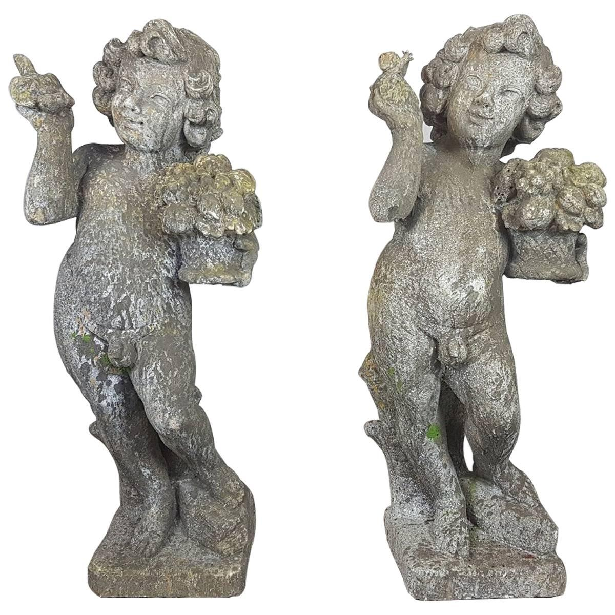 20th Century Italian Neoclassical Garden Statues Set Garden Ornament For Sale At 1stdibs