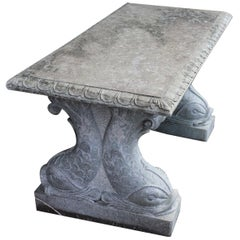 20th Century Italian Neoclassical Garden Table in Green Marble, Garden Ornament