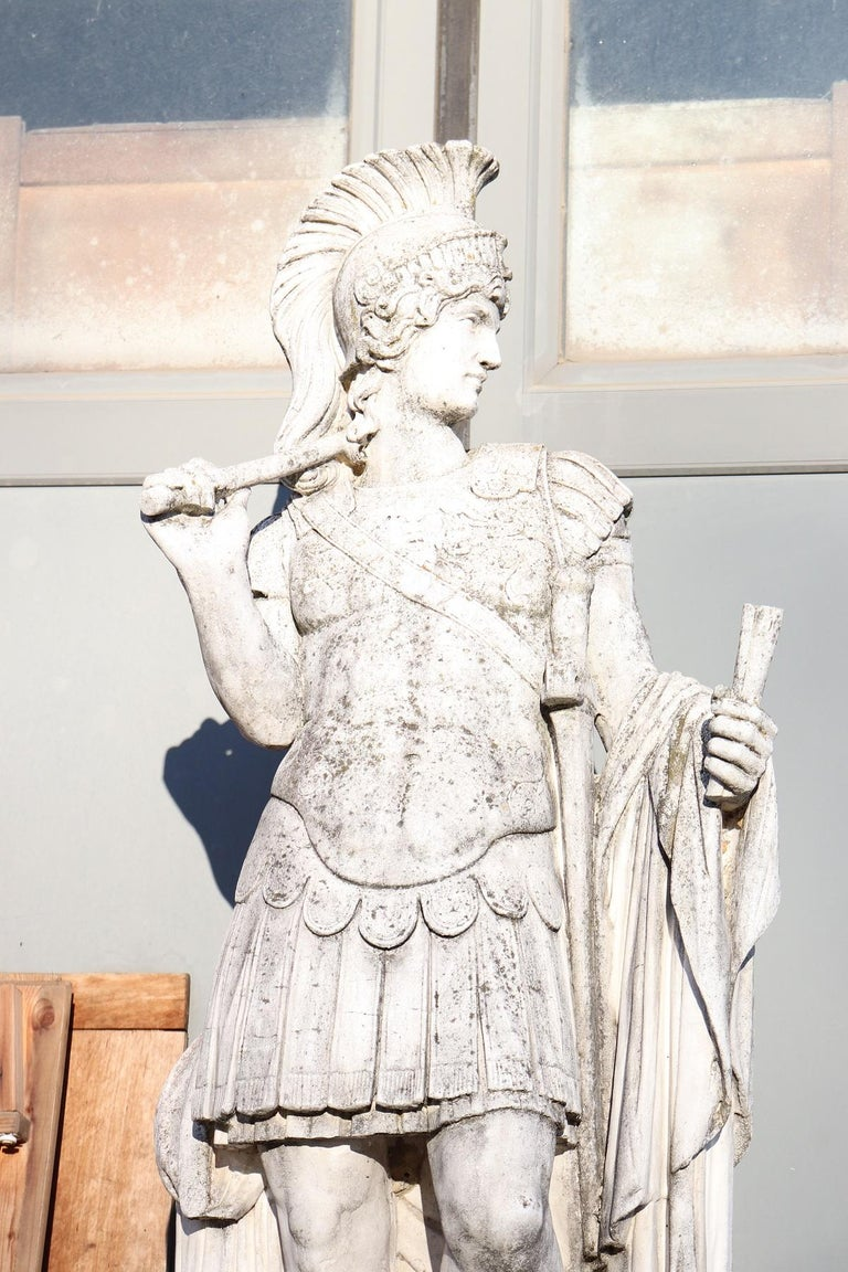 Beautiful refined garden statue in neoclassical style, circa 1930s. Beautiful and majestic statue of soldier of ancient Rome. The centurion was one of the ranks of the chain of command in the Roman Army, comparable to modern officers. The stone