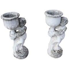 20th Century Italian Neoclassical Stone Garden Statue with Vase, Set of 2