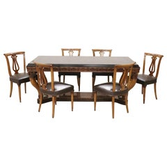 20th Century Italian Neoclassical Style Walnut Carved Dining Set 7 Pieces