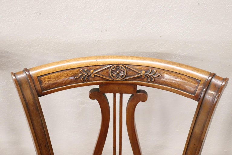 Mid-20th Century 20th Century Italian Neoclassical Style Walnut Carved Set of Six Chairs For Sale