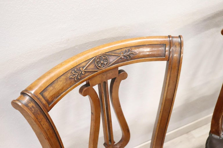 20th Century Italian Neoclassical Style Walnut Carved Set of Six Chairs For Sale 3