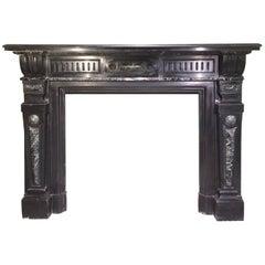 """20th Century Italian """"Nero Di Belgio"""" and """"Verde Di Prato"""" Marble Fireplace"""