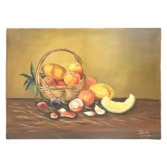 20th Century Italian Oil on Canvas Still Life Painting, Signed