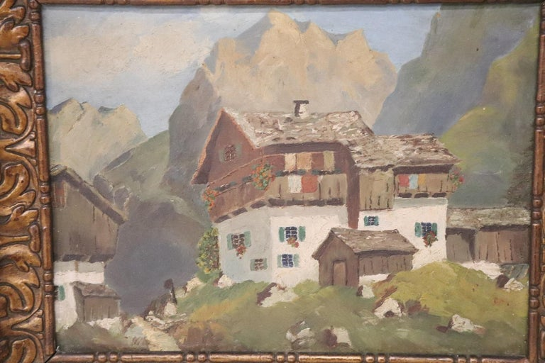 Beautiful Italian Mountain landscape. Oil on cardboard made in the early decades of the 20th century. Including of frame.