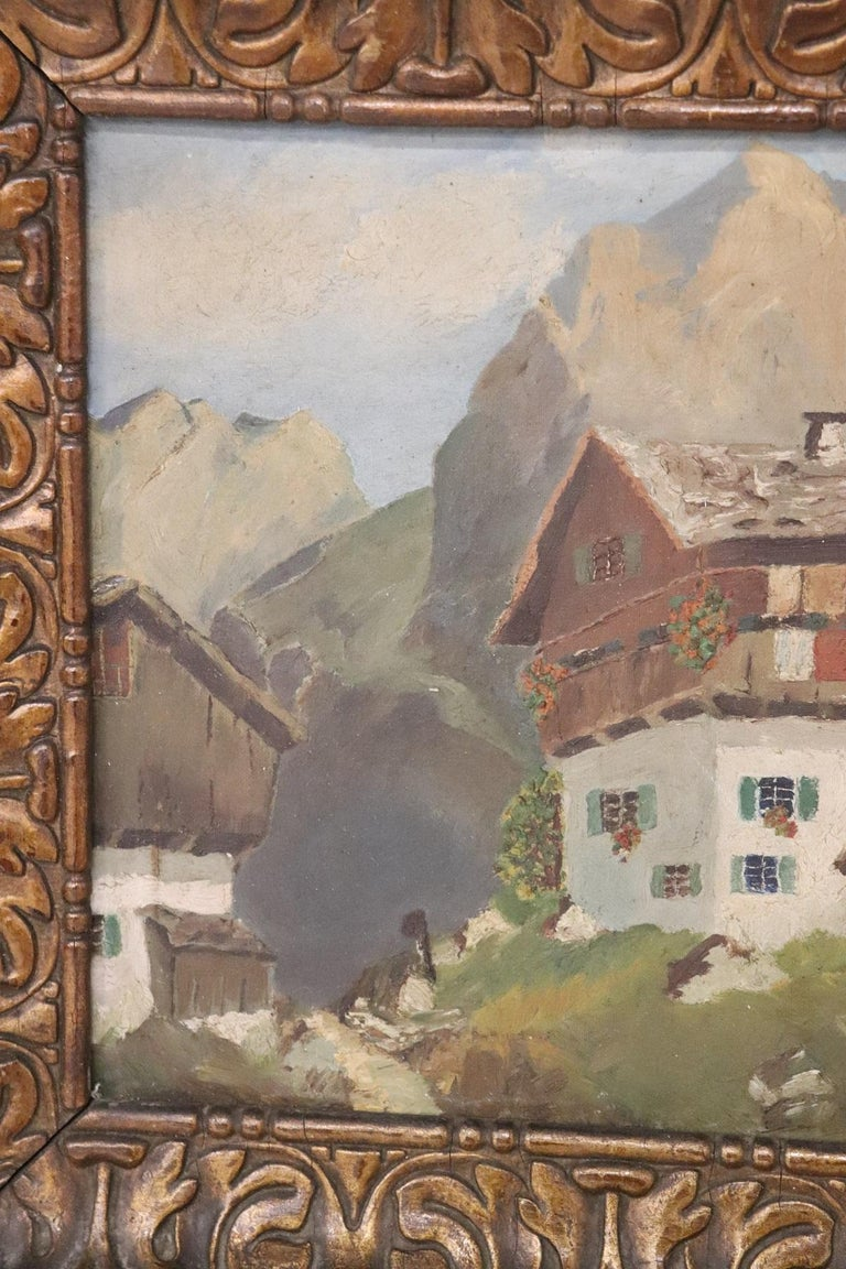 20th Century Italian Oil Painting Mountain Landscape with Frame In Good Condition For Sale In Bosco Marengo, IT