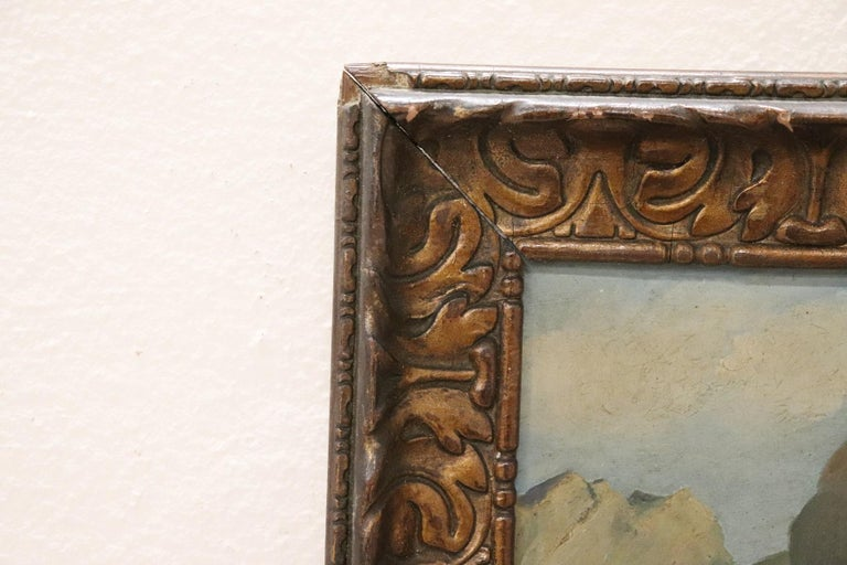 20th Century Italian Oil Painting Mountain Landscape with Frame For Sale 1