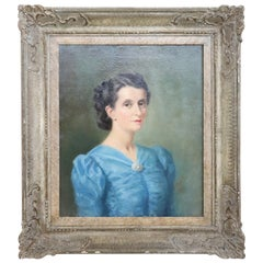 20th Century Italian Oil Painting on Canvas Portrait of a Young Lady, Signed