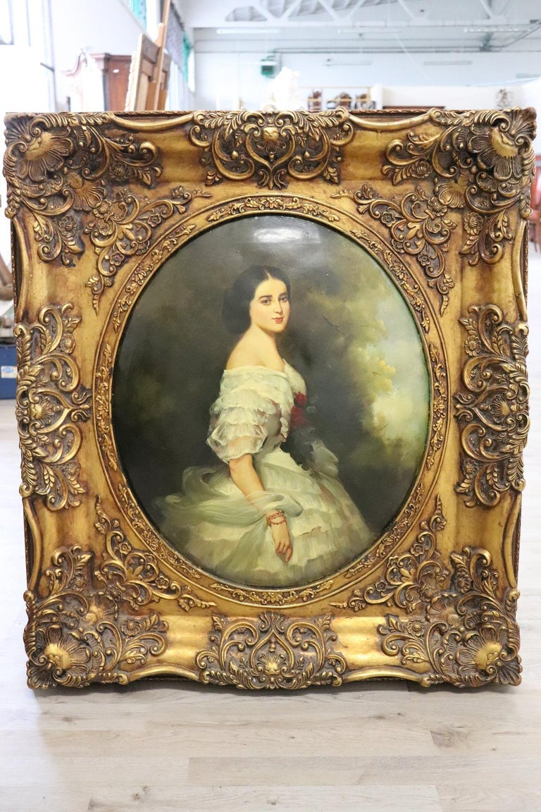 Oiled 20th Century Italian Oil Painting on Metal Portrait of Young Girl with Frame For Sale