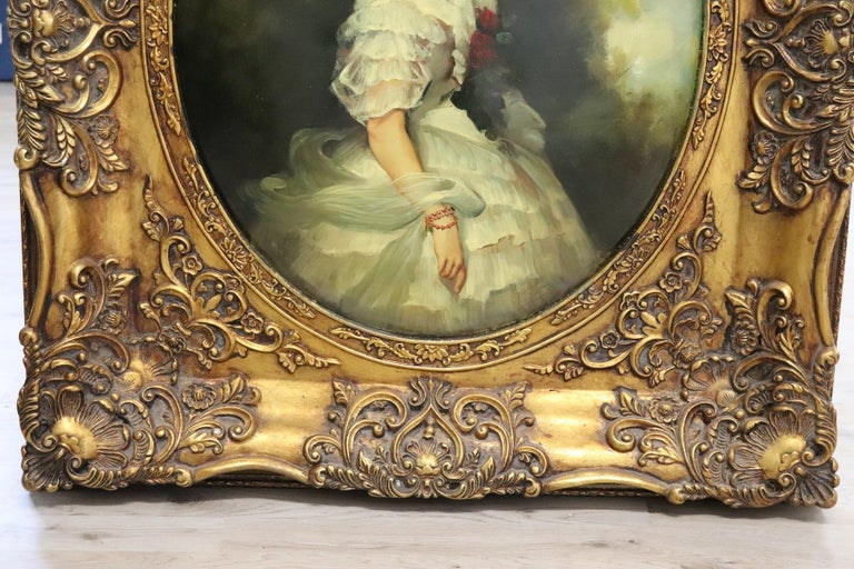 20th Century Italian Oil Painting on Metal Portrait of Young Girl with Frame In Excellent Condition For Sale In Bosco Marengo, IT