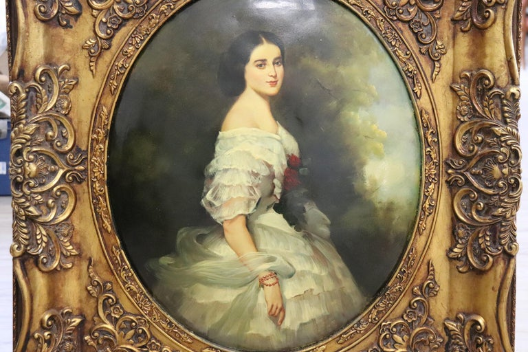 Late 20th Century 20th Century Italian Oil Painting on Metal Portrait of Young Girl with Frame For Sale
