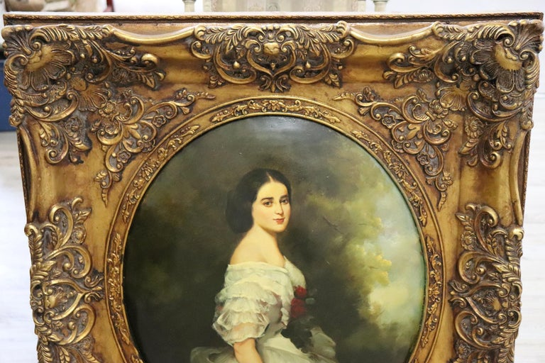 20th Century Italian Oil Painting on Metal Portrait of Young Girl with Frame For Sale 1