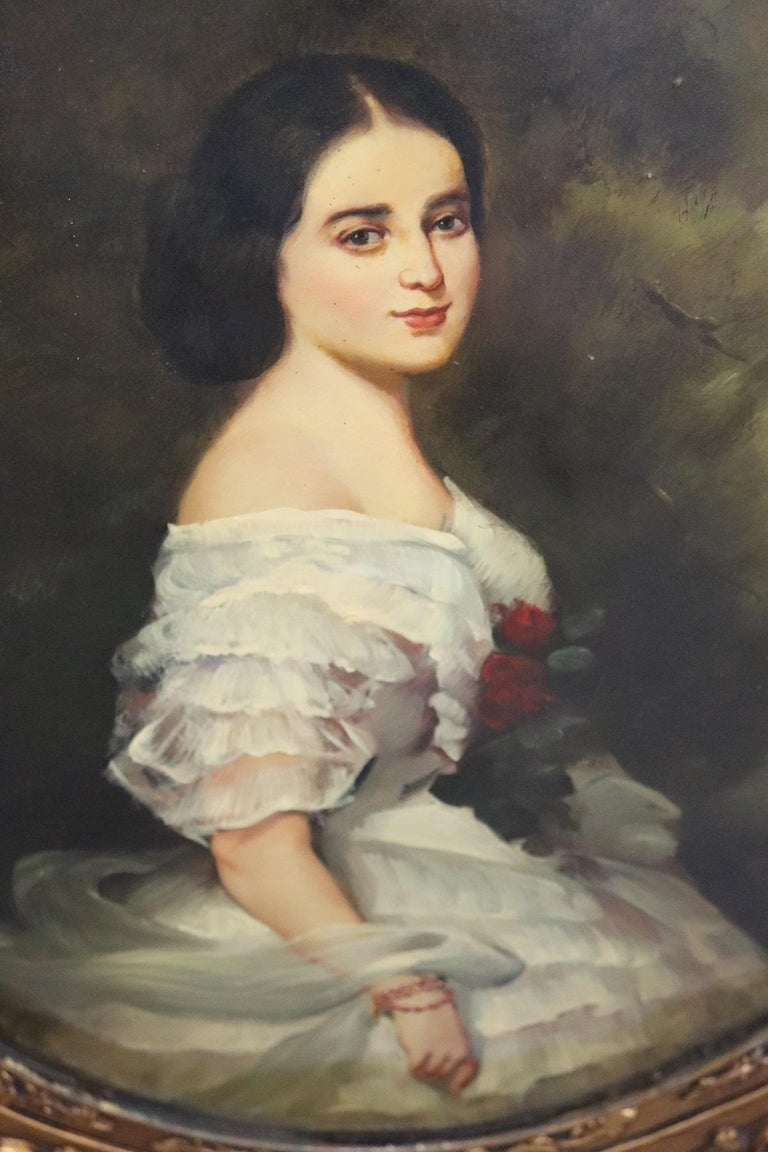20th Century Italian Oil Painting on Metal Portrait of Young Girl with Frame For Sale 2