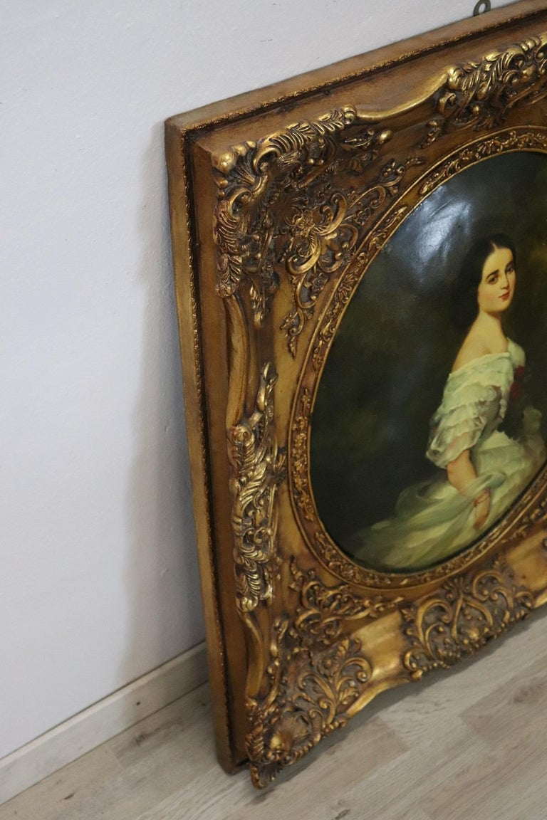 20th Century Italian Oil Painting on Metal Portrait of Young Girl with Frame For Sale 3