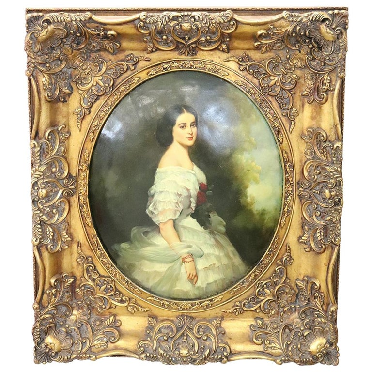 20th Century Italian Oil Painting on Metal Portrait of Young Girl with Frame For Sale