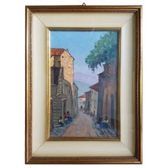 20th Century Italian Oil Painting on Wood Country Road by Giovanni Lomi, 1930s