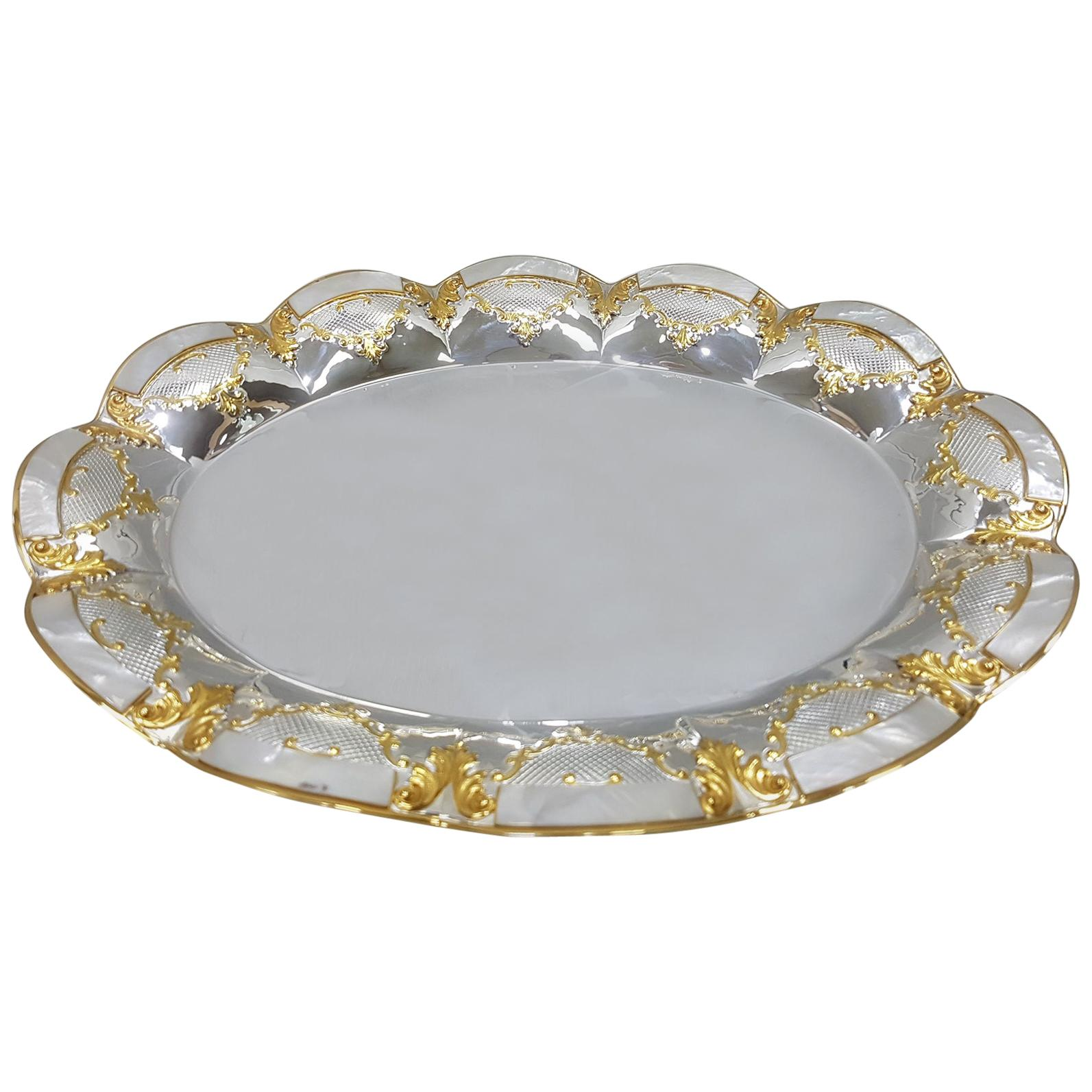 20th Century Italian Oval Silver Centerpiece with Mother of Pearl