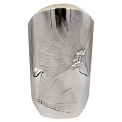 20th Century Italian Oval Solid Silver Vase with Sterlities