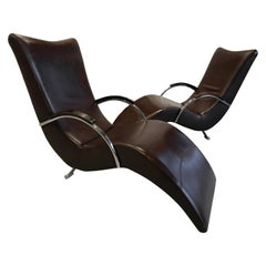 20th Century Italian ox blood colored Leather Lounge Chairs