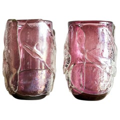 20th Century Italian Pair of Amethyst Murano Glass Vases