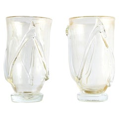 20th Century Italian Pair of Barovier Style Murano Glass Vases