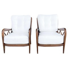 20th Century Italian Pair of Beechwood Armchairs by Paolo Buffa