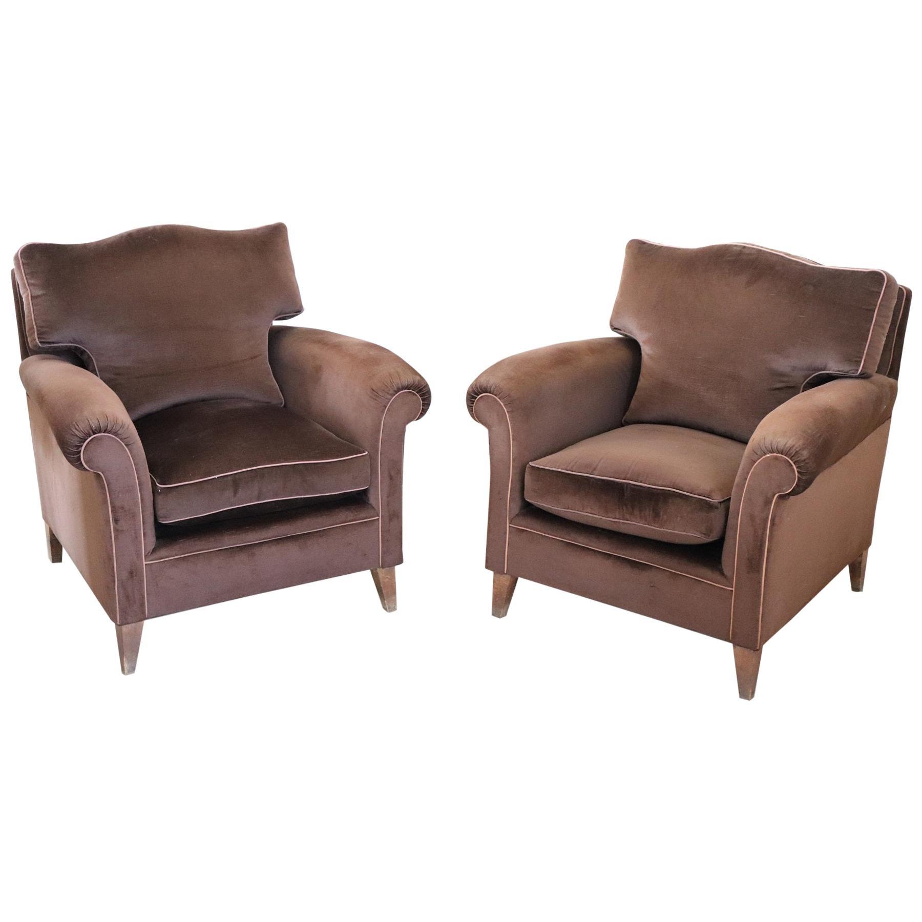 20th Century Italian Pair of Brown Velvet Armchairs, 1980s