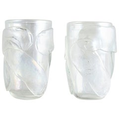20th Century Italian Pair of Clear Murano Glass Vases