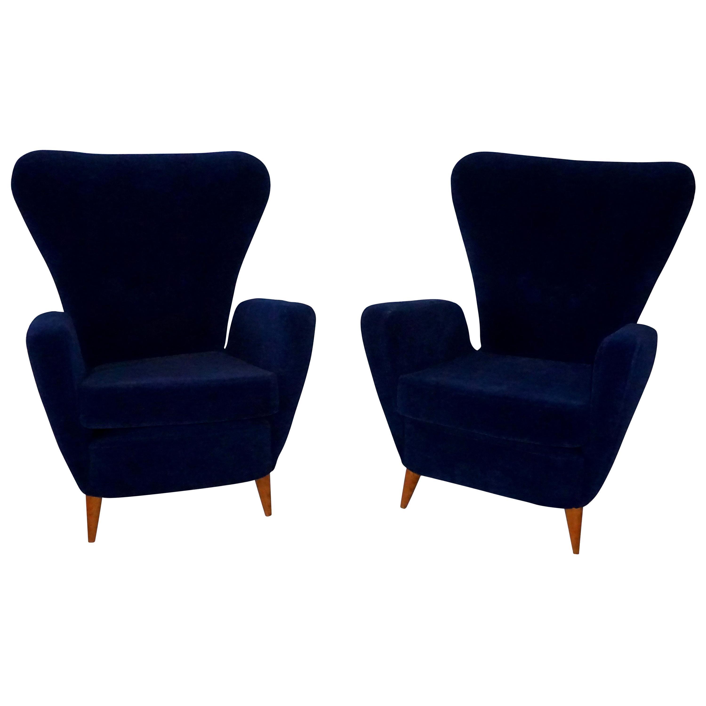 20th Century Italian Pair of Dark Blue Lounge Chairs by Paolo Buffa