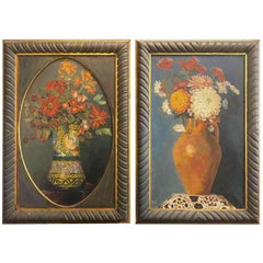 20th Century Pair of Italian Flower Paintings by Riccardo Ricci