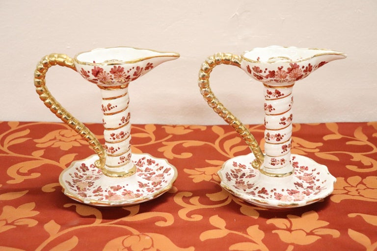 20th Century Italian Pair of Hand Painted Ceramic Candlesticks by Deruta For Sale 6