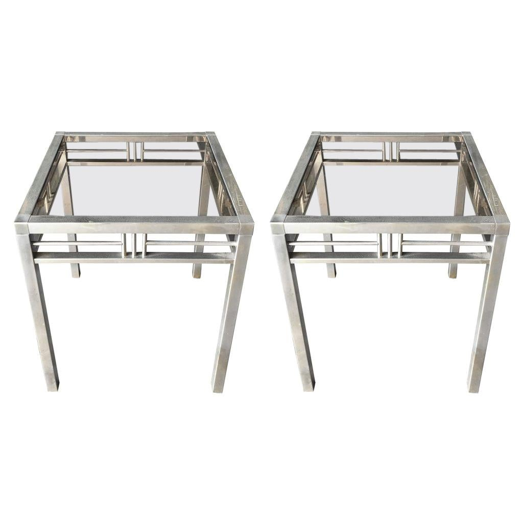 20th Century Silver Italian Pair of Modern Brass Side Tables - Glass End Tables