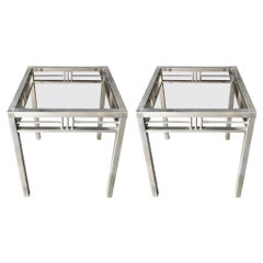 20th Century Italian Pair of Modern Brass Side Tables