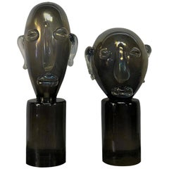 20th Century Italian Pair of Murano Glass Heads in the Manner of Pablo Picasso
