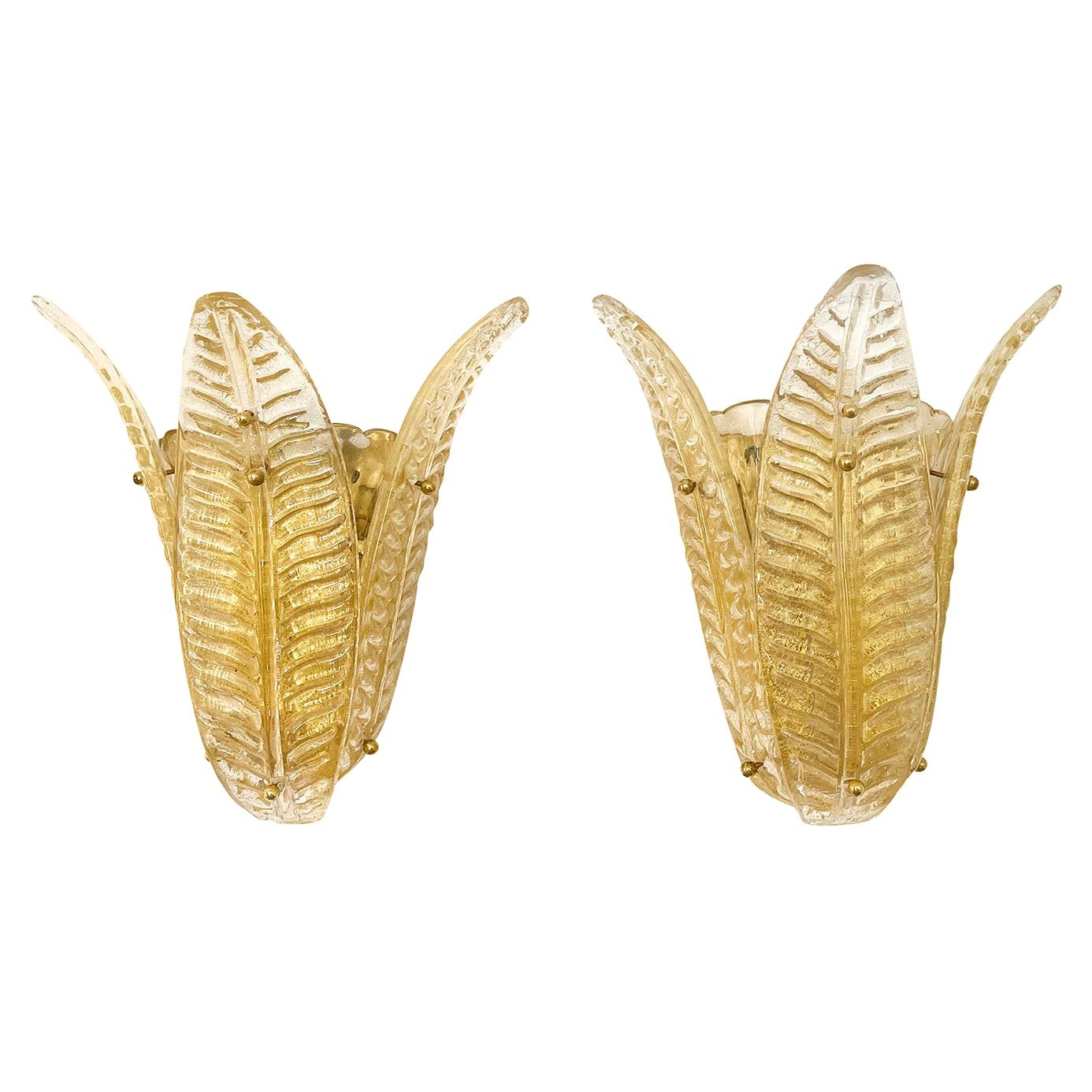 20th Century Italian Pair of Murano Glass Sommerso, Brass Leaf Wall Appliques