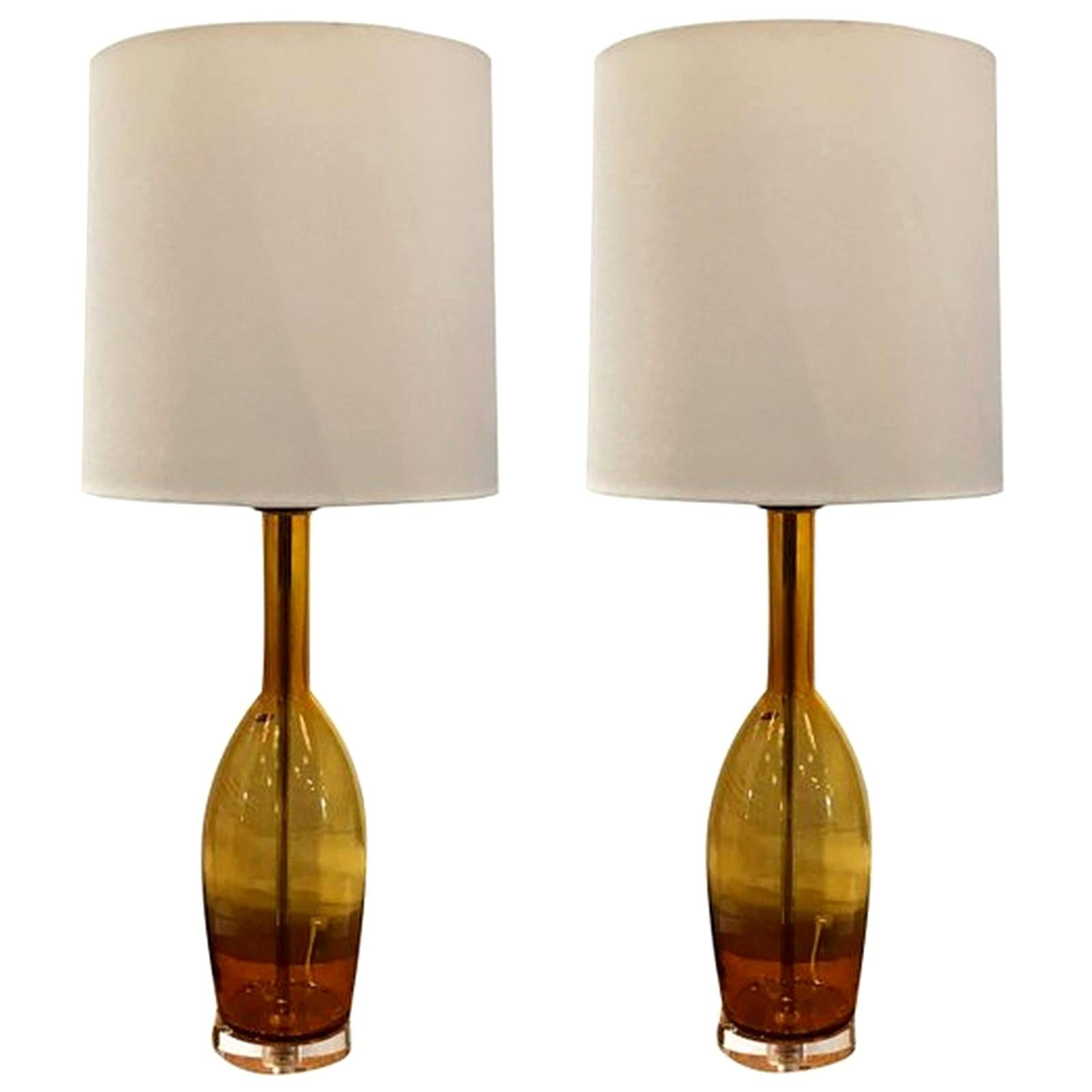 20th Century Gold Italian Pair of Murano Glass Table, Desk Lamps by Balboa