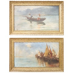 20th Century Italian Pair of Oil on Canvas Marine Painting with Frame, Signed