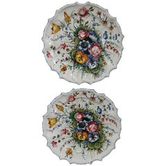 20th Century Italian Pair of Painted Ceramic Plats by Antonio Zen Nove