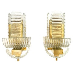 20th Century Italian Pair of Ridged Murano Glass Sommerso Wall Appliques