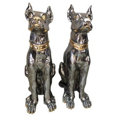 20th Century Italian Pair of Silver and Golden Ceramic Dogs, 1950s